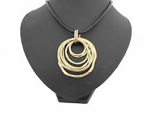 Chunky Gold Rings /  Hoops Rings Black Leather Cord Collar Necklace  Lagenlook
