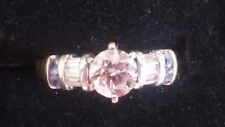 14k White SOLID GOLD Diamond and Tanzanite ENGAGEMENT RING0.72 tcw ((605))