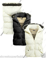 Size 8 10 12 14 16 Womens GILET BODYWARMER Ladies JACKET PADDED Hood Waistcoat