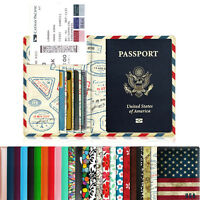 Premium Leather RFID Blocking Cards Passport Holder Travel Wallet Case Cover
