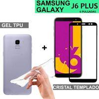 SAMSUNG  GALAXY J6 PLUS protector pantalla cristal 3d vidrio templado + funda