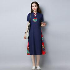 Mujer Algodón Lino Vestido Recto étnico Vintage Floral Manga Corta Cuello Mao