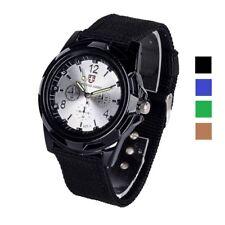 Men's Slim Sport Watch Wristwatch Military Analog Army Quartz Canvas Strap Black