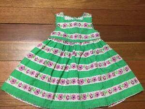 PUMPKIN PATCH dress Green Striped Pink Flowers Green Trim Cotton 3-6months