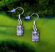 BUY 3 GET 1 FREE~VINTAGE STYLE SILVER OWL DANGLE EARRINGS~.925 STERLING HOOKS