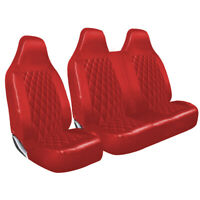 RENAULT TRAFIC - RED QUILTED DIAMOND LEATHER VAN SEAT COVERS SINGLE + DOUBLE