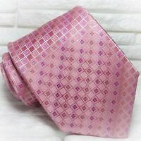 Krawatte seide Rosa auf Rosa mit rot nahte  Made in Italy hochzeit / business