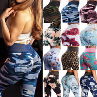 Women High Waist Yoga Pants Push Up Ruched Running Sports Leggings Trousers New