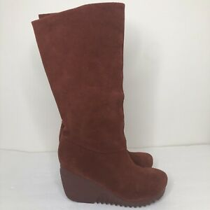 BC Footwear Womens Suede Wedge Boots 8 M Festival Boho Cottagecore Brown Rust