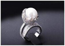 on White Fashion Ring Size 7 Gorgeous Design Cubic Zirconia Pave White Pearl