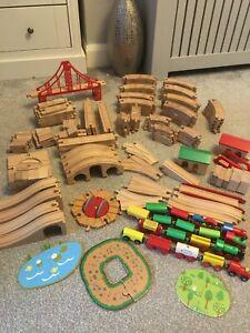 Wooden Railway Train Track 175+ Job Lot Trains Bridges etc ELC Brio Bigjigs etc