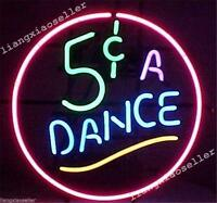 17X14 New 5 FIVE CENTS A DANCE Exotic REAL GLASS NEON SIGN BEER BAR PUB LIGHT