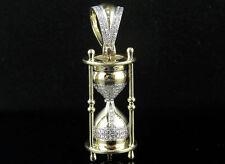 "Men's 10K Yellow Gold Real Diamonds Time Hourglass Charm Pendant 0.75ct 1.6"""