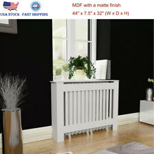 "44"" MDF Radiator Cover Heating Wall Cabinet White Vertical Slats Modern Home"