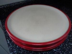 DENBY RED DINNER PLATES X 4