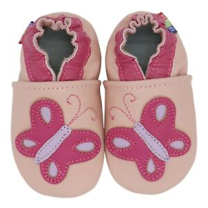 carozoo butterfly pink 12-18m soft sole leather baby shoes slippers