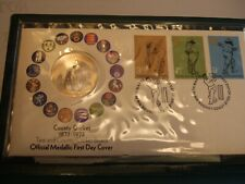 1973 John Pinches Sterling Silver TCCB County Cricket Medallic First Day Cover!