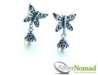 Ladies New 925 Sterling Silver Nomad Butterfly Pearl Drop Earrings - Beautiful!