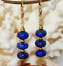 Lapis Lazuli Ohrringe 4cm – Silber 925 vergoldet – 20ct Lapislazuli blau gold