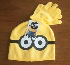 Despicable Me NWT Yellow Minions Kids Knit Hat & Gloves 2 Piece Set