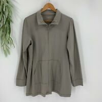 Eileen Fisher Jacket Womens Size Large L Gray Full Zip Washable Crepe Stretch