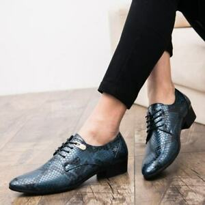 Fashion Mens Pointy Toe Lace Up Snakeskin Pattern Party Dress Formal Chic Shoes