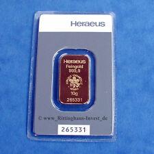 Goldbarren 10g 10 Gramm Feingold Heraeus Blister Gold 99,99 Kinebar Kinebarren