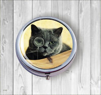 CAT ARISTOCRAT PILL BOX ROUND METAL -djt6Z
