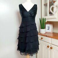 MONSOON (UK Size 12) 100% Silk Black Ruffled Midi A-Line Dress