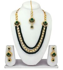 Traditional Indian Bridal Gold Tone Fashion Jewelry Necklace Earrings Party Set