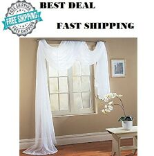"Pure White Sheer Window Wedding Scarf Drape Panel Curtain Swag Voile 56"" x 216"""