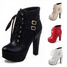 Fashion Women Combat Lace Up High Heel Block Pumps Platform Round Toe Ankle Boot