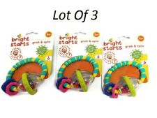 Lot Of 3 Bright Starts Grab And Spin Rattle For Teething Relief Baby Toy