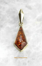 Italian Made Elegant Classic Amber Pendant in 9ct Gold -GP0064 RRP£90!!!