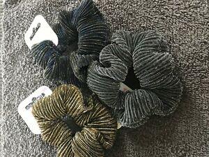 Glitter hair scrunchie lurex fabric elastic bobble striped sparkly band glittery