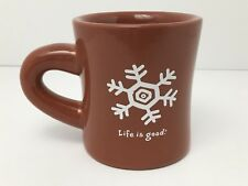 Life Is Good Winter Mug Snowflake Diner Style Excellent