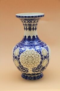 Chinese Blue and White Vase With Cutouts