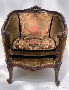 Beautiful Antique Mohair Upholstered Arm Chair with Carved Wood Frame
