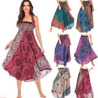 Women Long Hippie Bohemian Gypsy Boho Flowers Elastic Waist Floral Halter Skirt