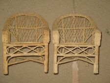 "Pair of 12"" Tall Light Brown Wicker Doll Chairs"