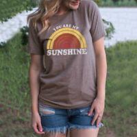 Funny You Are My Sunshine Rainbow Print T-Shirt Women Short Sleeve O-Neck Top W