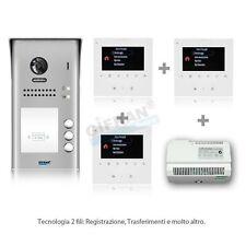 kit videocitofono 3 appartamenti con pulsantiera 3 monitor videocitofoni 2 fili