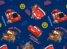 Patchwork Quilting Sewing Fabric CARS MATAR & LIGHTNING Material 50x55cm New