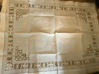 White cotton and lace large tray cloth / table mat