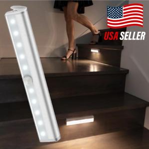 Motion Sensor LED Night Light Battery-Powered Wireless Stairs Under Cabinet USA