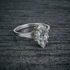 3Ct Marquise-Cut VVS2 Diamond Solitaire Engagement Ring 14k White Gold