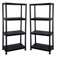 New 2 x 4 Tier Black Plastic Shelf Racking Shelving Shelves Rack Storage Unit