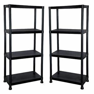 New 2 x 4 Tier Black Plastic Shelf Racking Shelving Shelves Rack Storage Unit