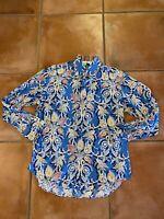 Robert Graham Mens Shirt Blue Floral Print Contrast Cuffs Collar Long Sleeve M