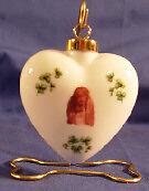 Irish Shamrock Ceramic Ornament: Puffy Heart with Irish Setter Christmas d